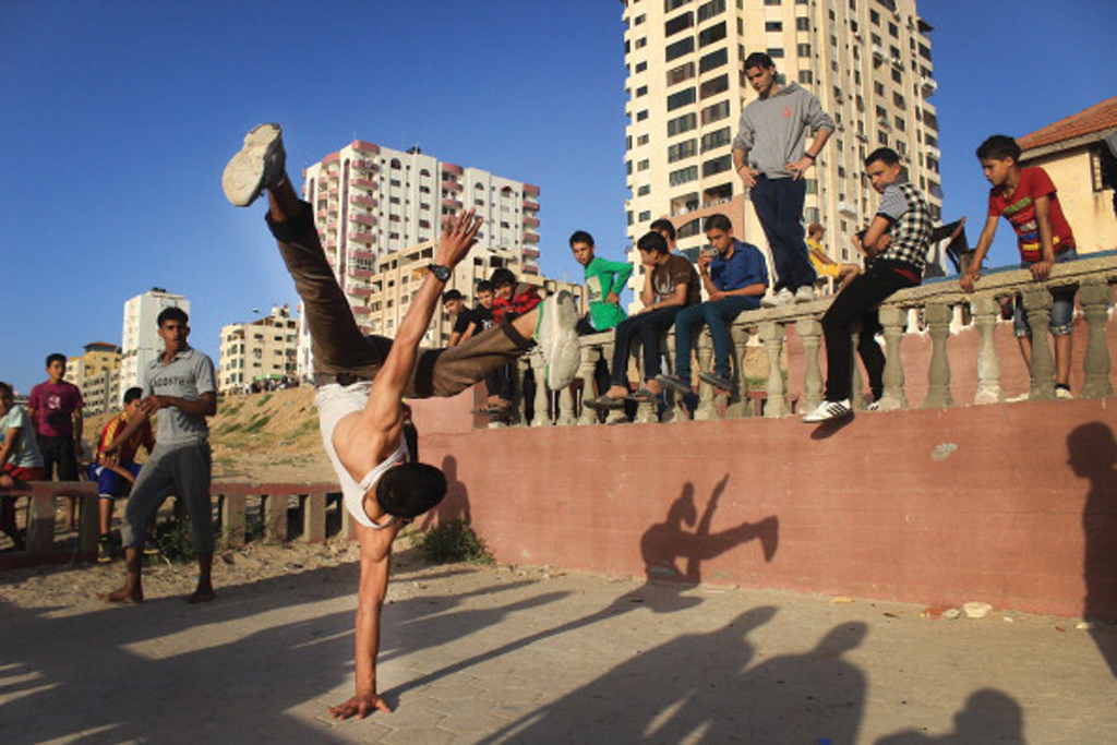 Parkour and break-dance teams performing some of there moves