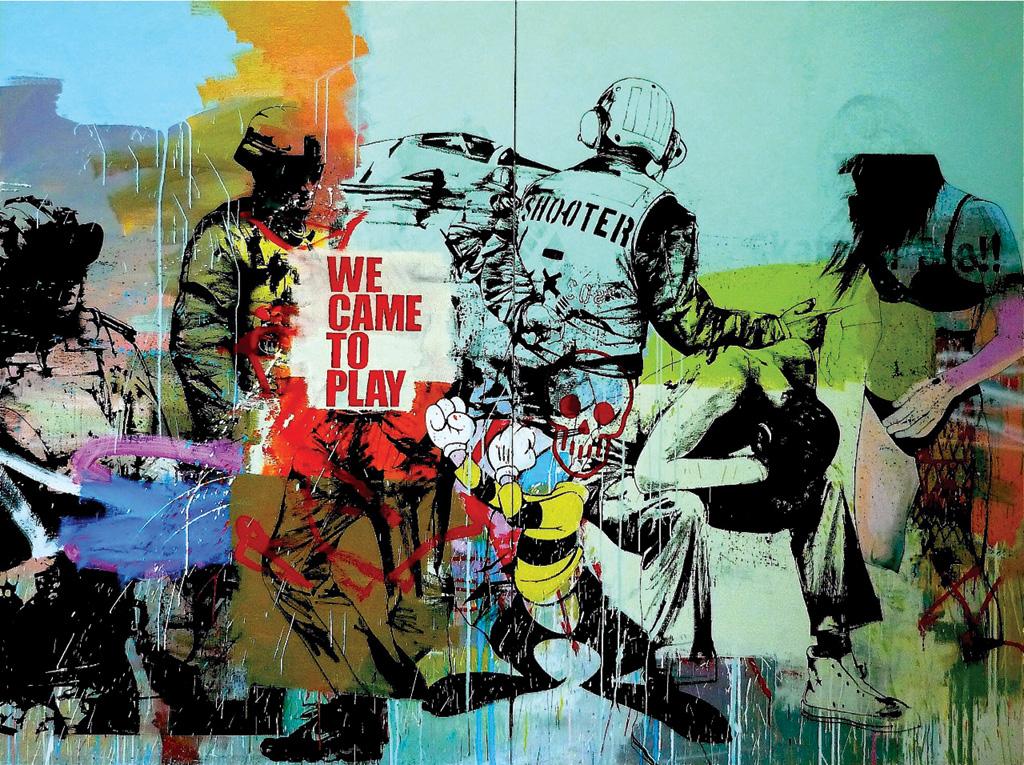 Gwenael Salaun - Jesus blood never failed me yet  Diptyc - Oil Latex Spray painting on Canvas - 260 x 195 cm